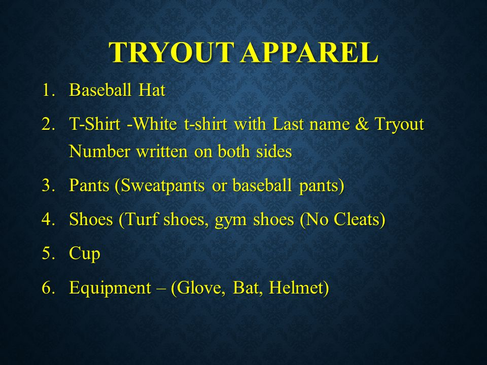 TRYOUT APPAREL Baseball Hat