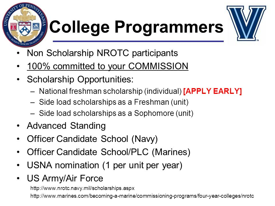 College Programmers Non Scholarship NROTC participants