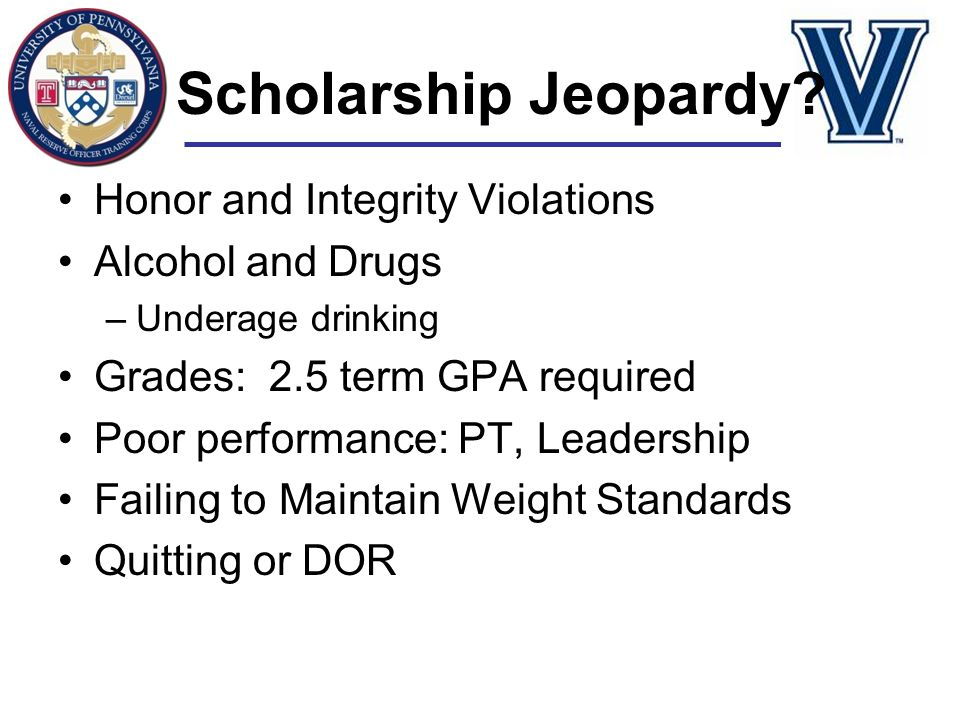 Scholarship Jeopardy Honor and Integrity Violations Alcohol and Drugs