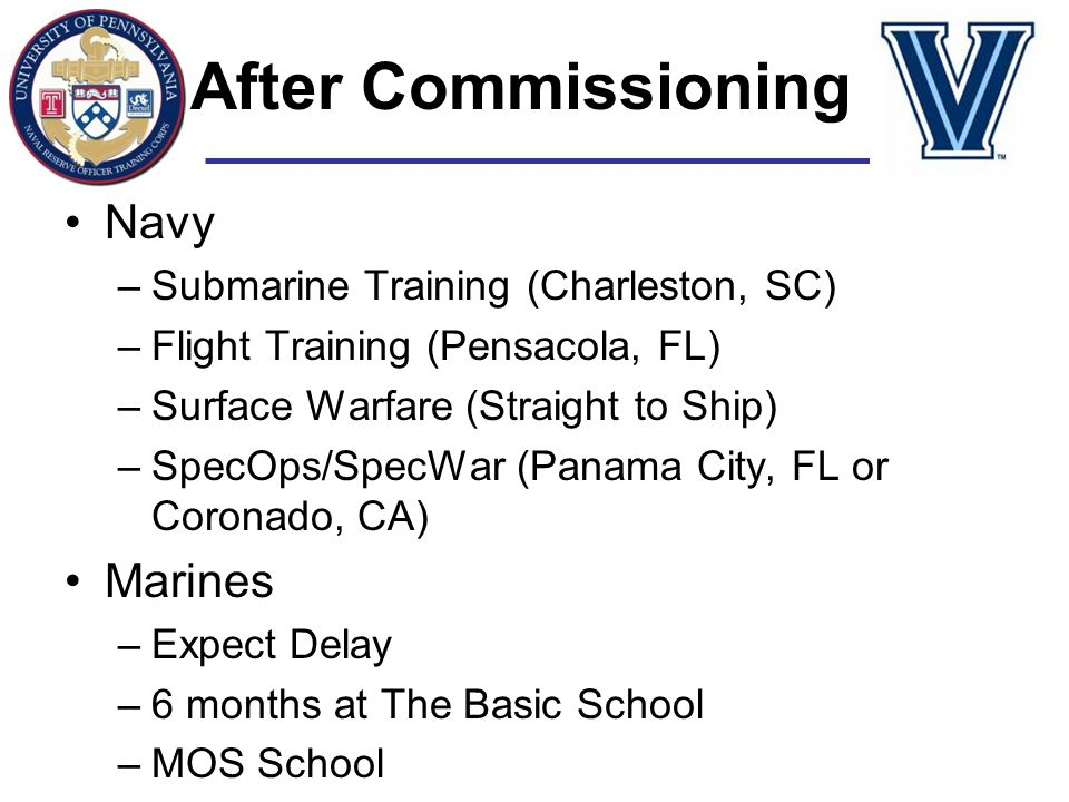 After Commissioning Navy Marines Submarine Training (Charleston, SC)