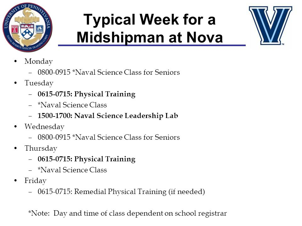 Typical Week for a Midshipman at Nova