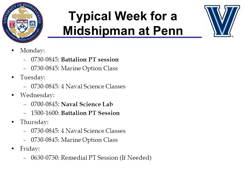 Typical Week for a Midshipman at Penn