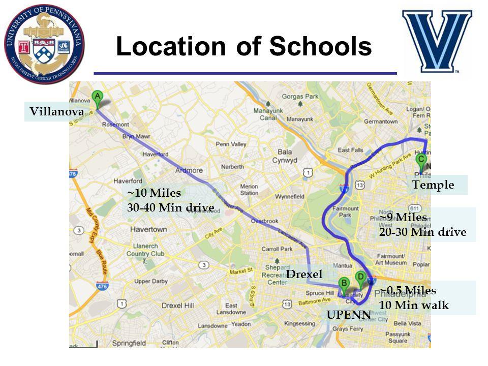 Location of Schools Villanova Temple ~10 Miles 30-40 Min drive