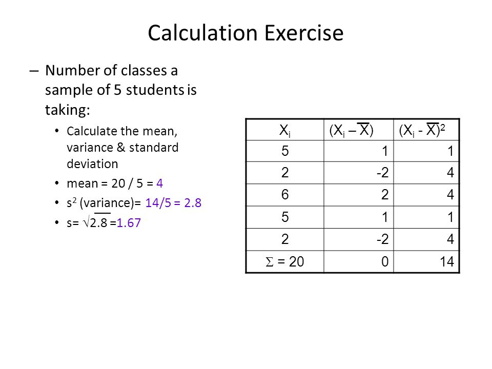Calculation Exercise Number of classes a sample of 5 students is taking: Calculate the mean, variance & standard deviation.