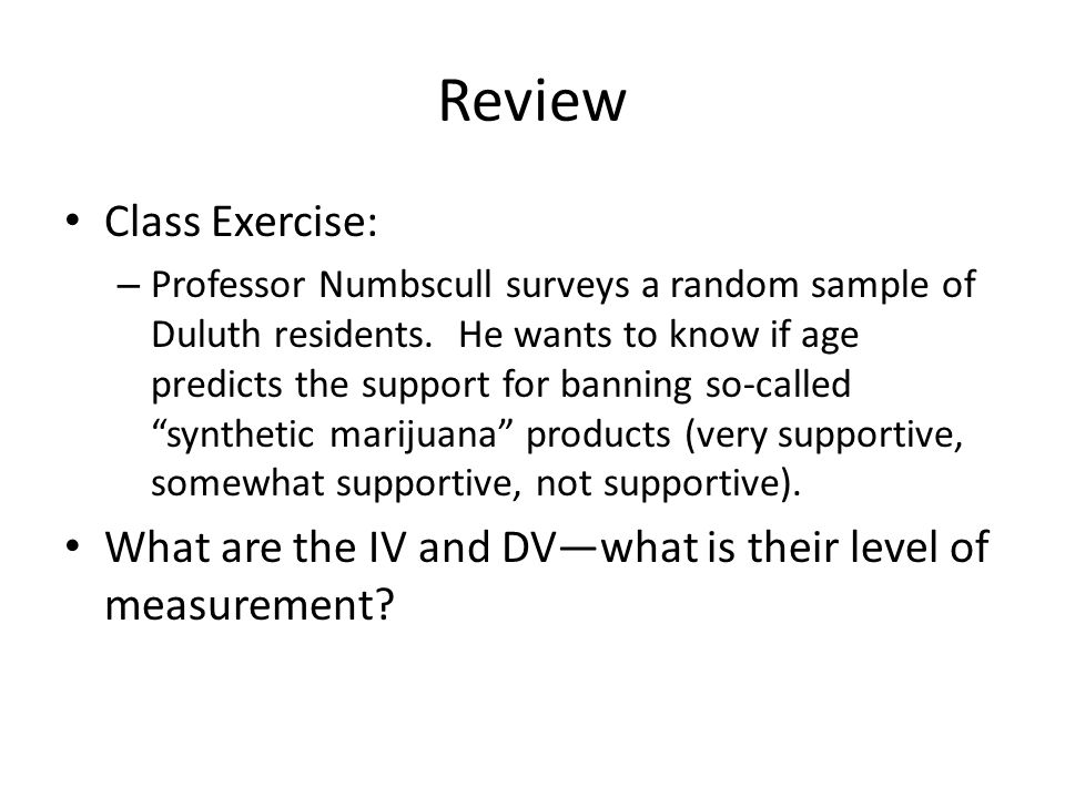 Review Class Exercise:
