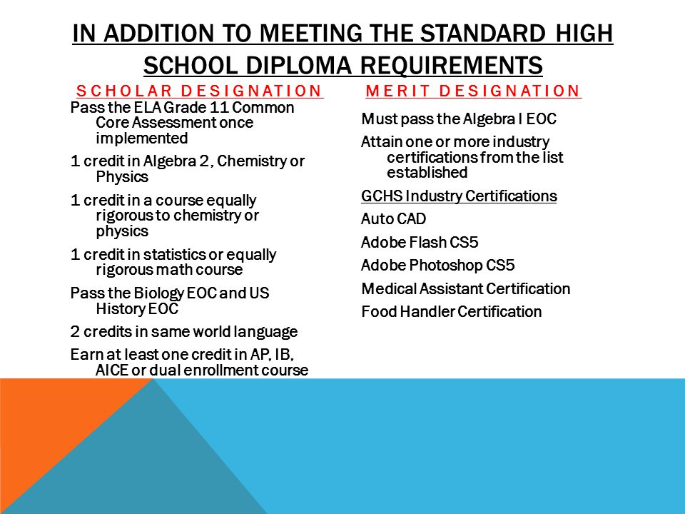In addition to meeting the standard High School Diploma Requirements