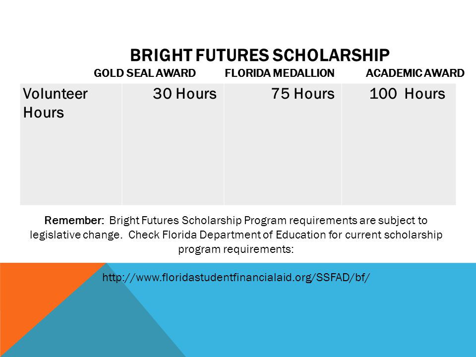 Bright Futures Scholarship Gold Seal Award Florida Medallion Academic Award
