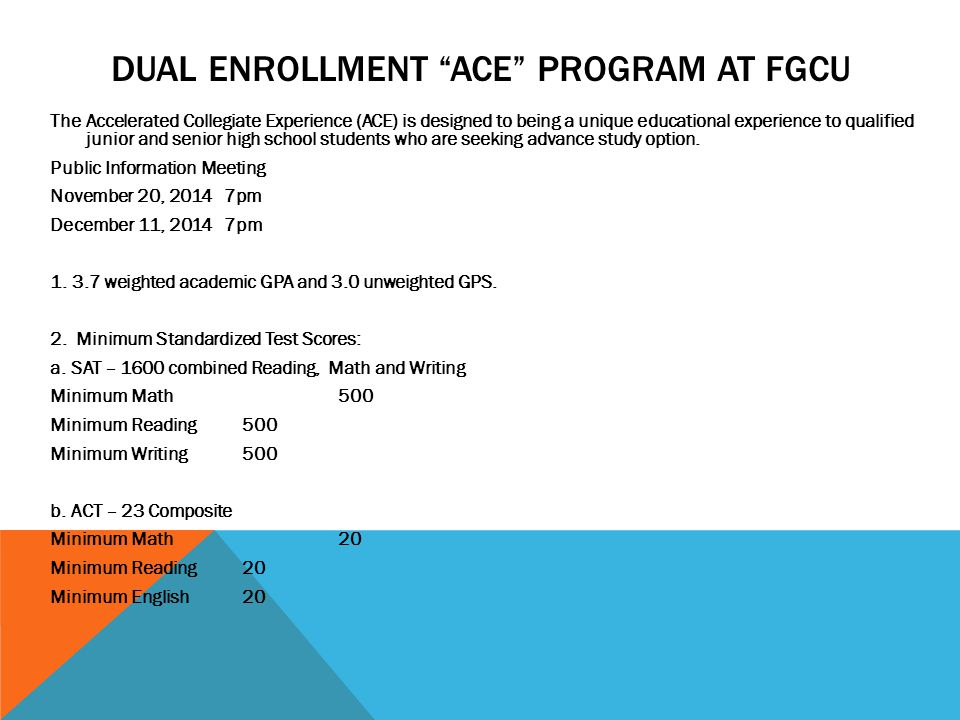 Dual Enrollment Ace Program at FGcu