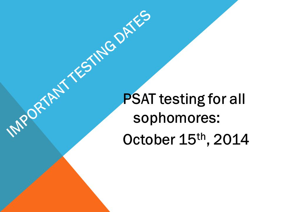 IMPORTANT TESTING DATES
