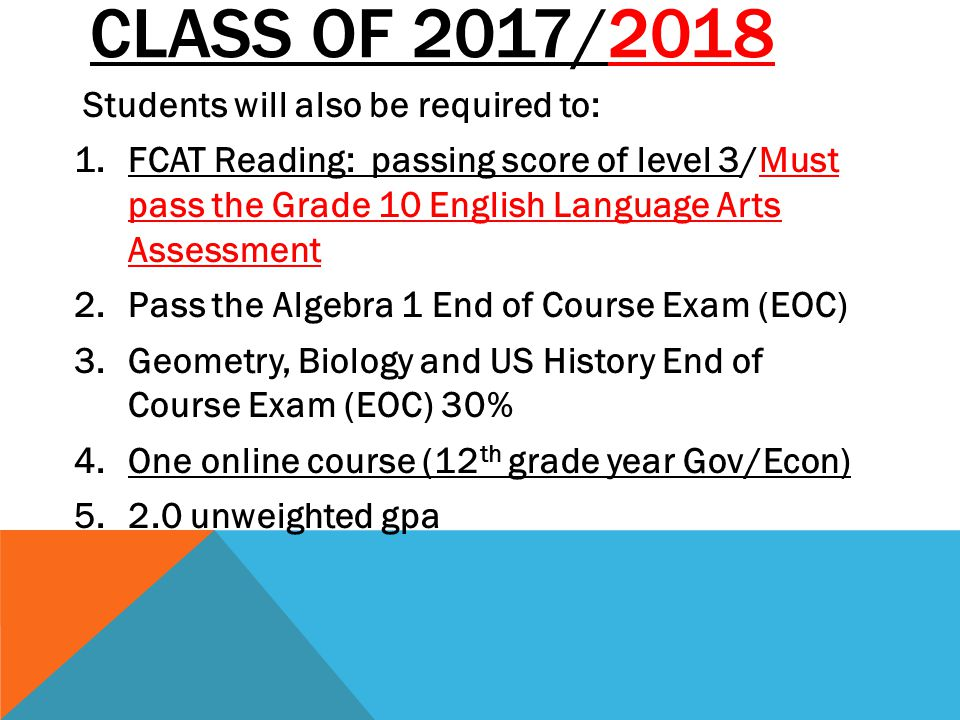 Class of 2017/2018 Students will also be required to:
