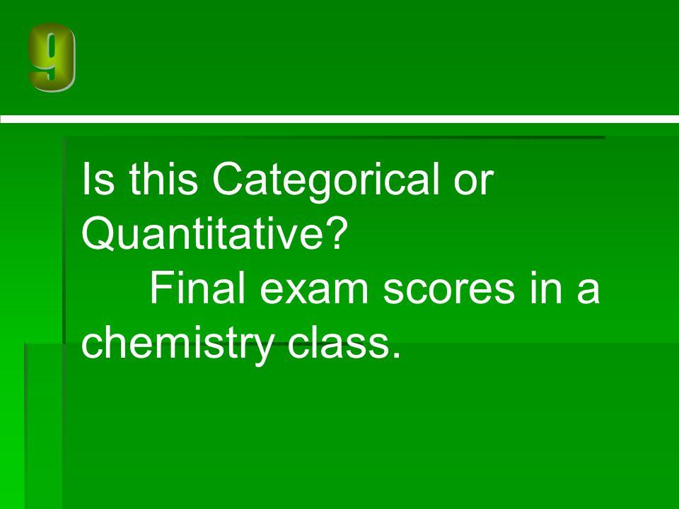 Is this Categorical or Quantitative