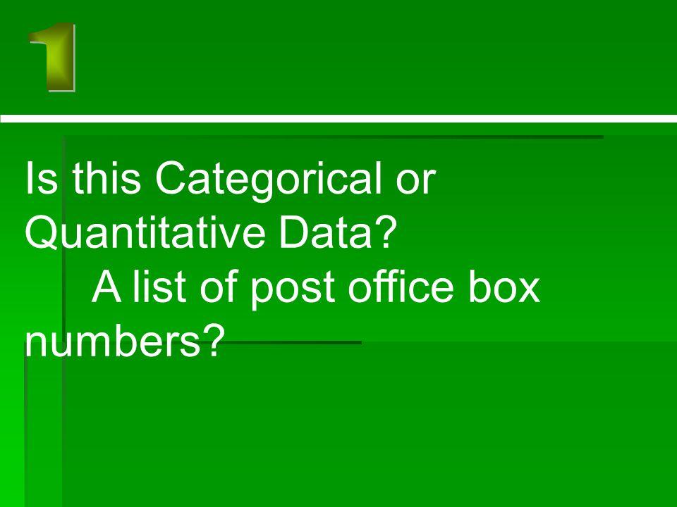 Is this Categorical or Quantitative Data