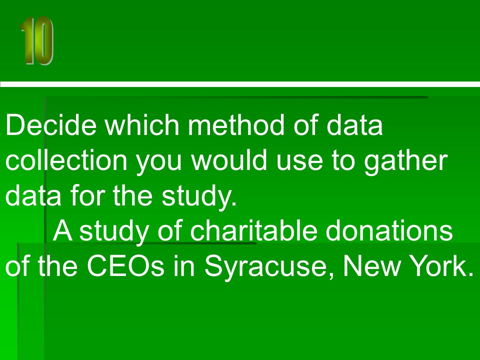 A study of charitable donations of the CEOs in Syracuse, New York.