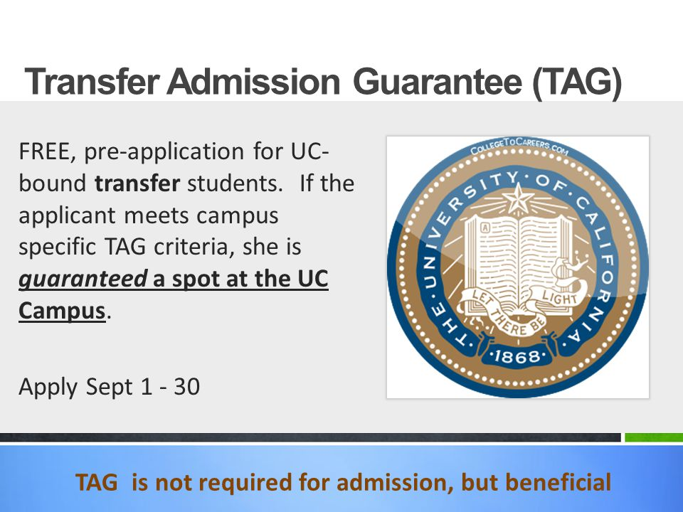 TAG is not required for admission, but beneficial