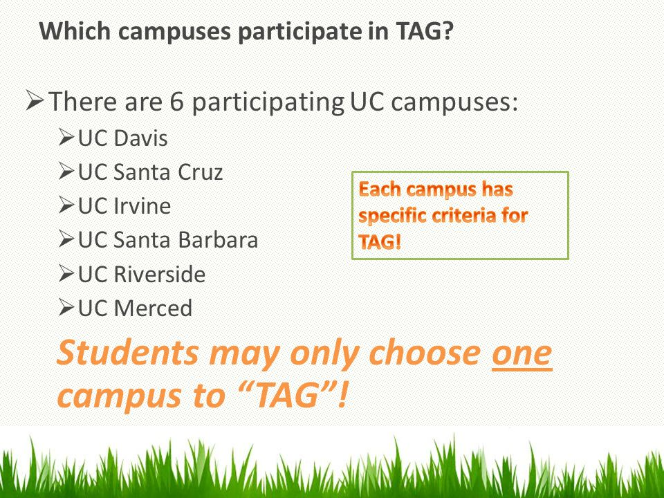 Which campuses participate in TAG