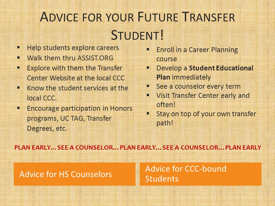 Advice for your Future Transfer Student!