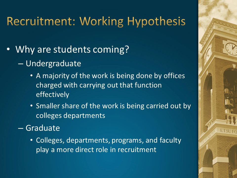 Recruitment: Working Hypothesis