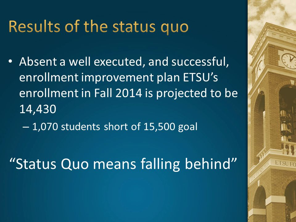 Results of the status quo