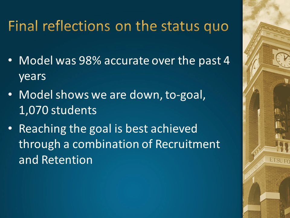 Final reflections on the status quo