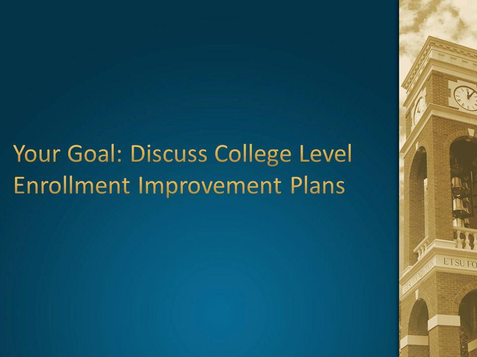 Your Goal: Discuss College Level Enrollment Improvement Plans