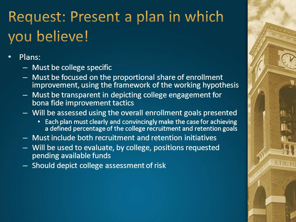 Request: Present a plan in which you believe!