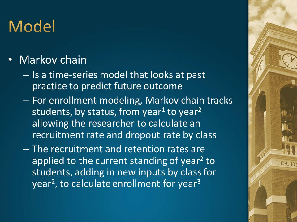 Model Markov chain. Is a time-series model that looks at past practice to predict future outcome.