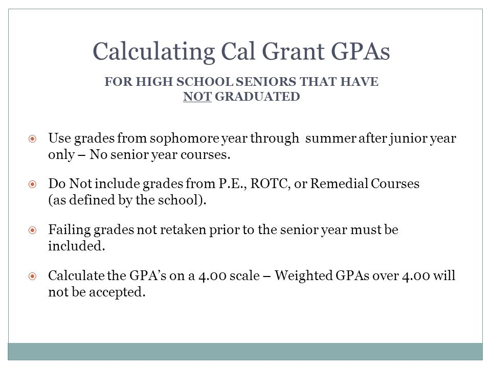 For high school seniors that Have