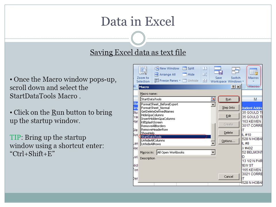 Saving Excel data as text file