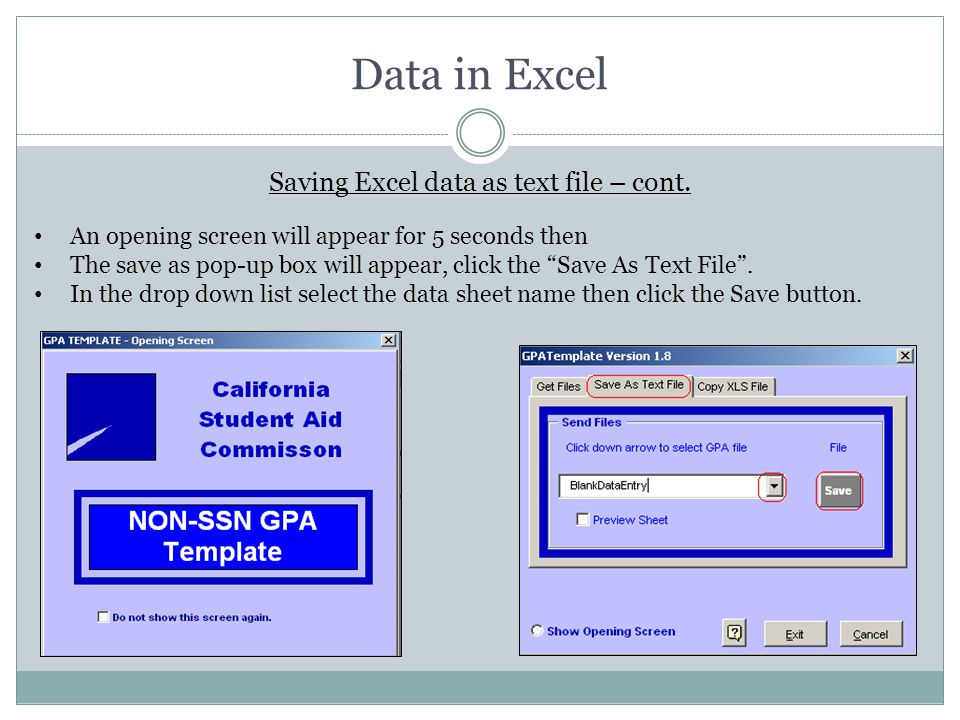 Saving Excel data as text file – cont.