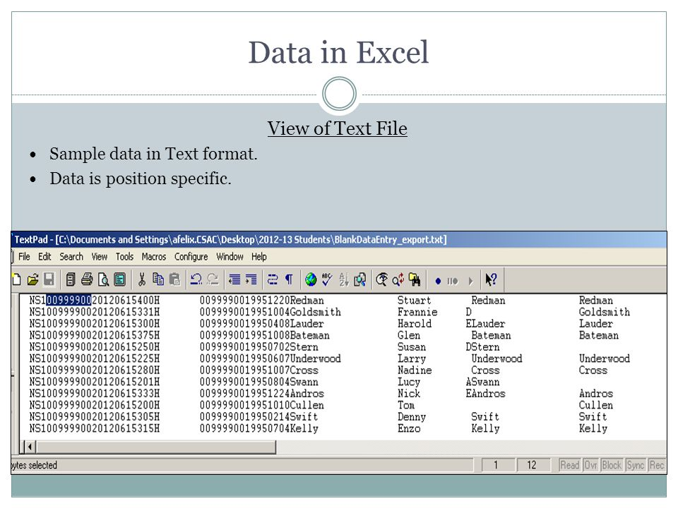 Data in Excel View of Text File Sample data in Text format.