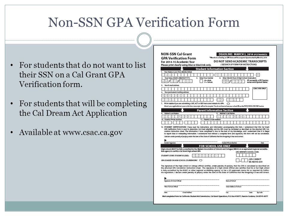 Cal Grant GPA Submission Training – Non-SSN - ppt video online ...