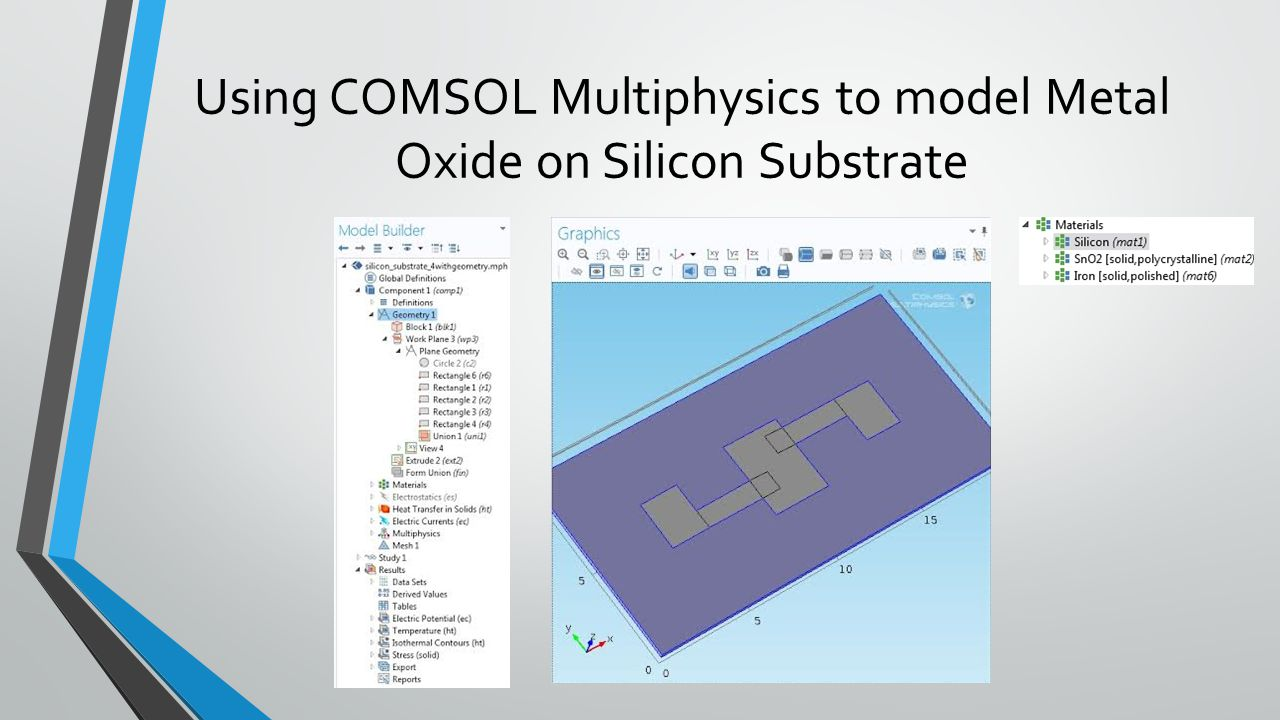 Using COMSOL Multiphysics to model Metal Oxide on Silicon Substrate