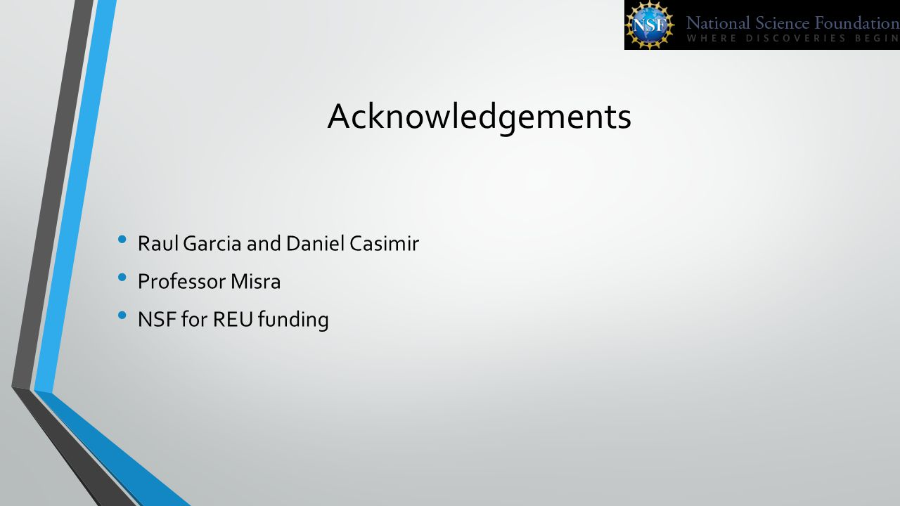 Acknowledgements Raul Garcia and Daniel Casimir Professor Misra