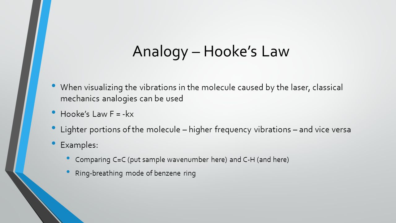 Analogy – Hooke's Law When visualizing the vibrations in the molecule caused by the laser, classical mechanics analogies can be used.