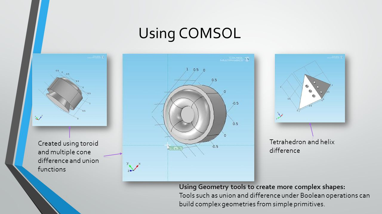 Using COMSOL Tetrahedron and helix difference