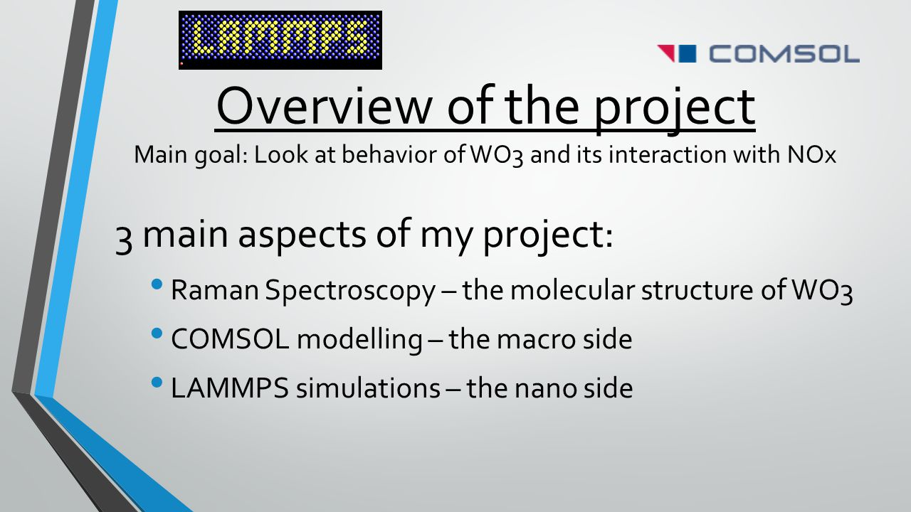 Overview of the project Main goal: Look at behavior of WO3 and its interaction with NOx