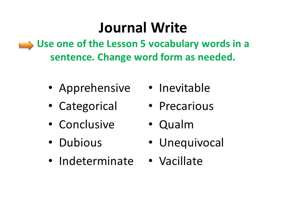 Journal Write Use one of the Lesson 5 vocabulary words in a sentence