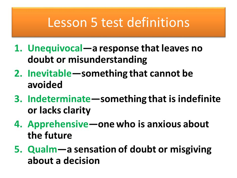 Lesson 5 test definitions