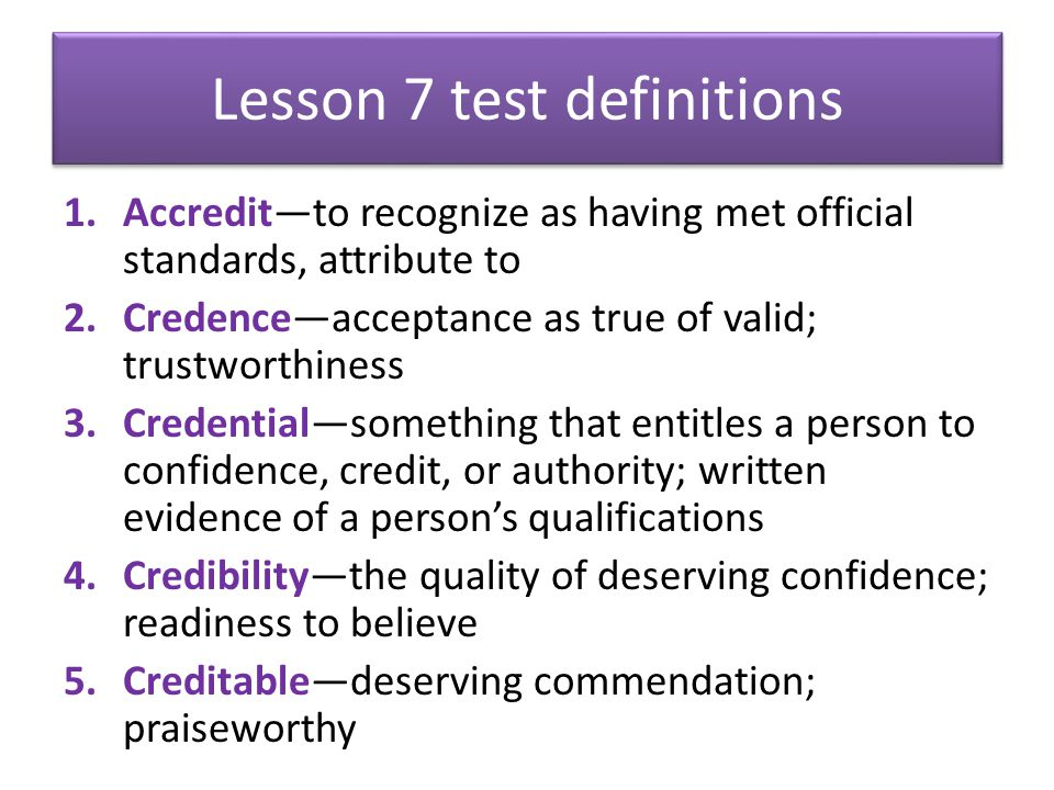Lesson 7 test definitions
