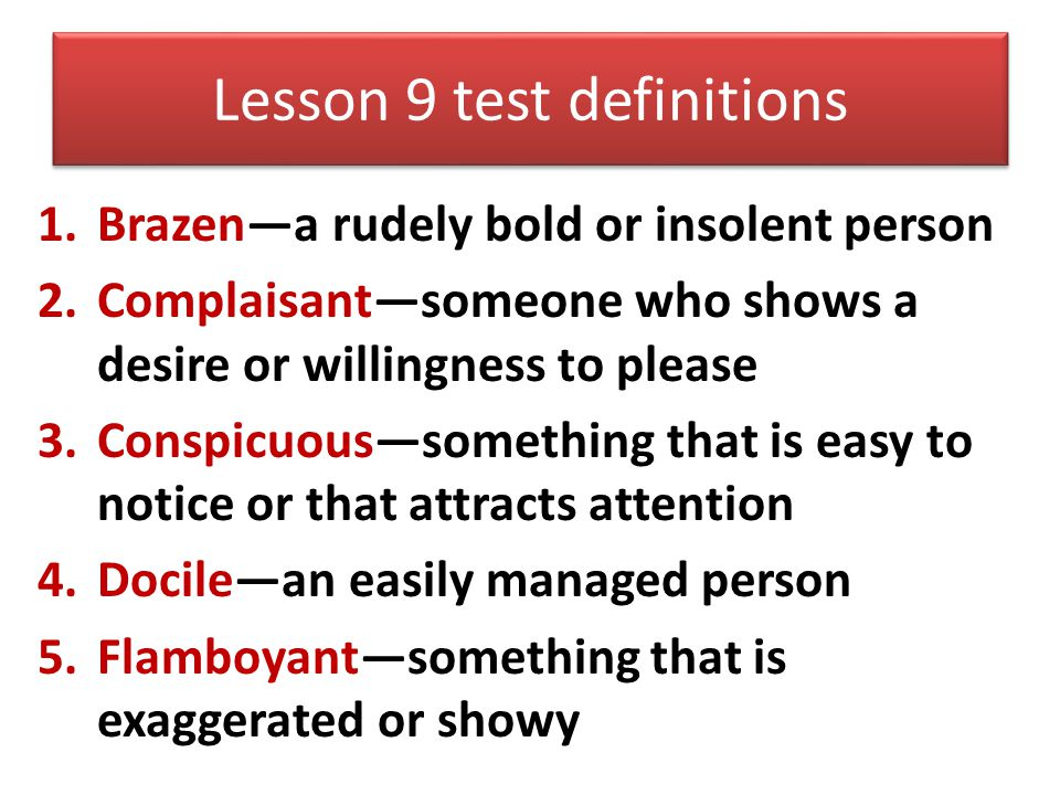 Lesson 9 test definitions