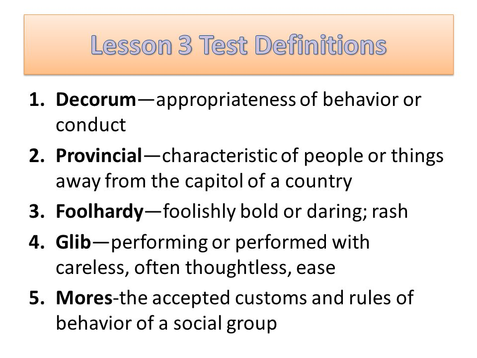 Lesson 3 Test Definitions