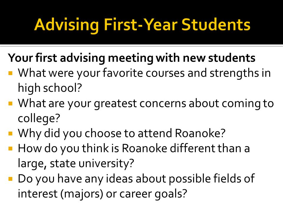 Advising First-Year Students