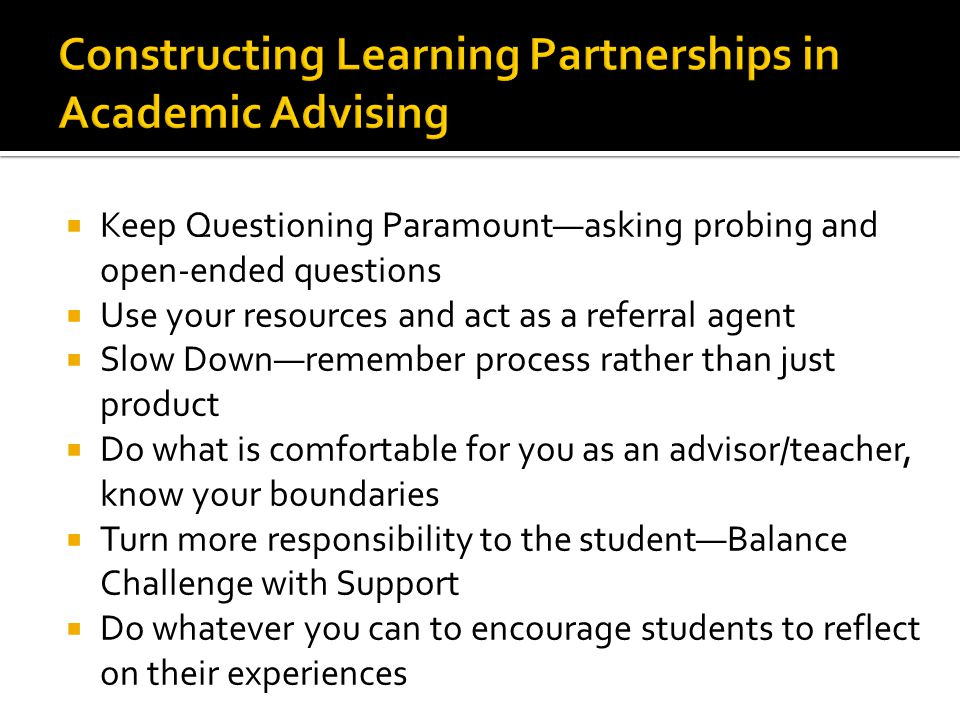 Constructing Learning Partnerships in Academic Advising