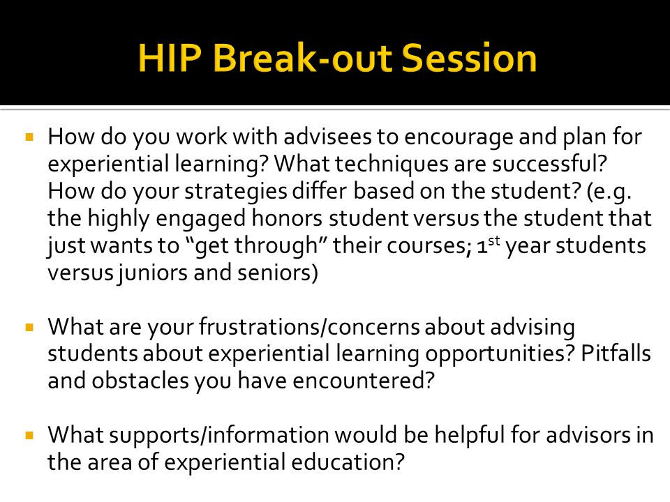 HIP Break-out Session