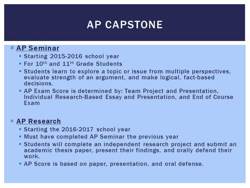 AP Capstone AP Seminar AP Research Starting 2015-2016 school year