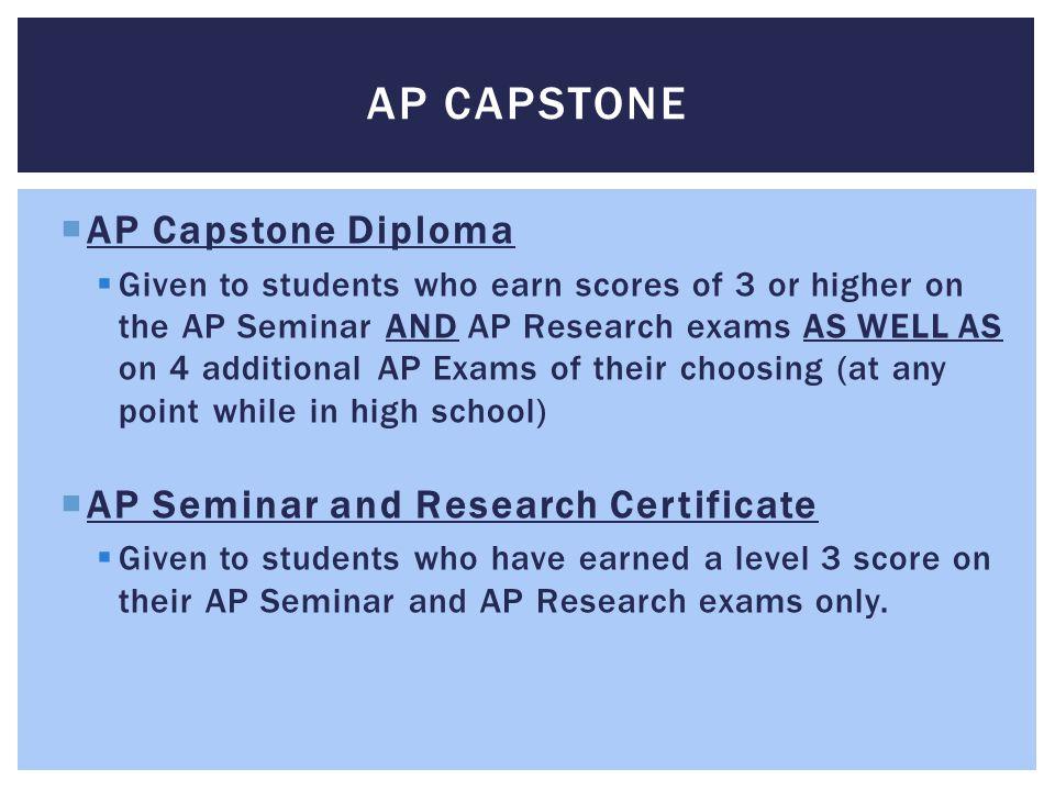 AP Capstone AP Capstone Diploma AP Seminar and Research Certificate