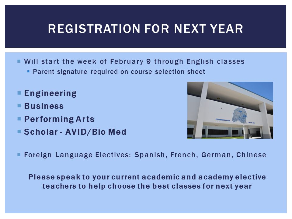 Registration for next year