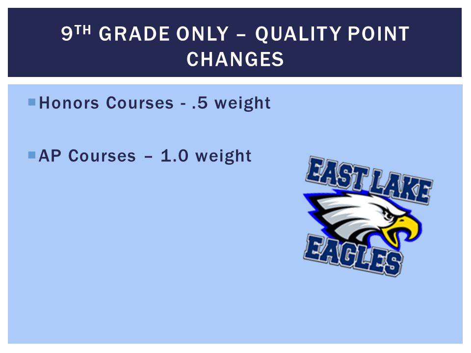 9th Grade only – quality point changes