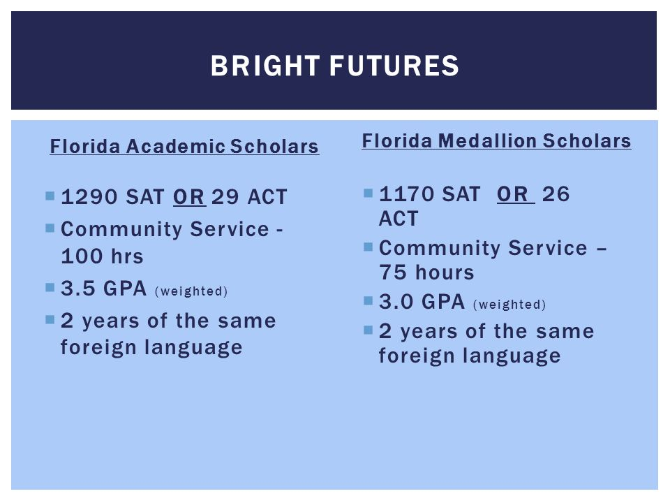 Bright Futures 1290 SAT OR 29 ACT Community Service - 100 hrs