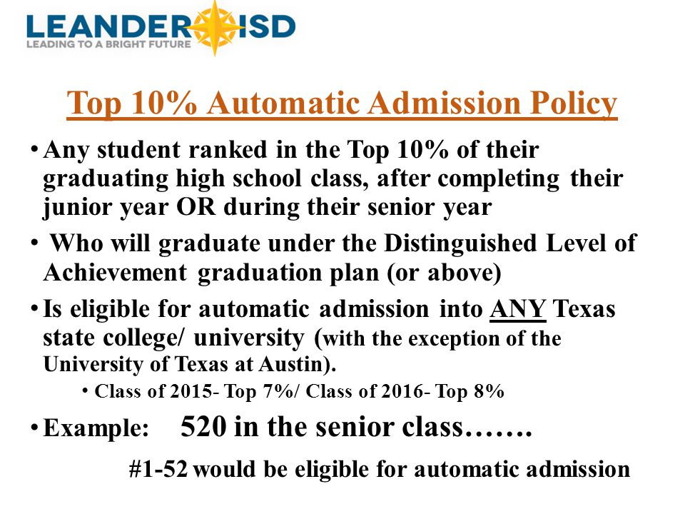 Top 10% Automatic Admission Policy